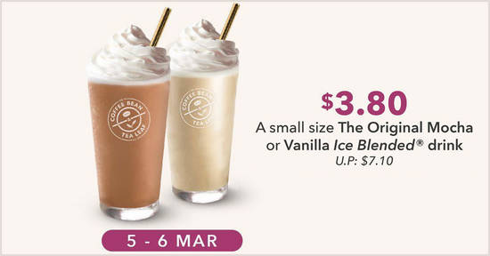 Featured image for The Coffee Bean & Tea Leaf is offering Original Ice Blended drinks at $3.80 (U.P. $7.10) specially for the ladies (5 - 6 Mar 2020)