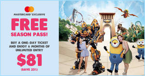 Universal Studios S'pore is giving away free 6 months unlimited entry when you buy a one-day ticket (Till 12 April 2020)