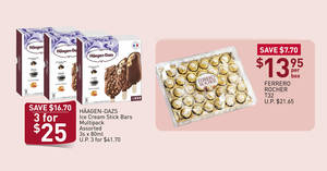Haagen-Dazs ice cream bars, Ferrero Rocher and more deals at Fairprice till 15 April 2020