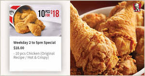KFC Delivery is offering 10pcs chicken for only $18 ($1.80/ea) on weekdays, 2pm – 5pm