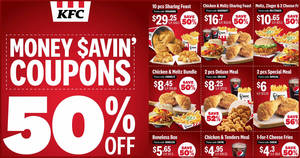 KFC releases NEW and refreshed set of coupons offering 50% and more savings valid till 28 April 2020