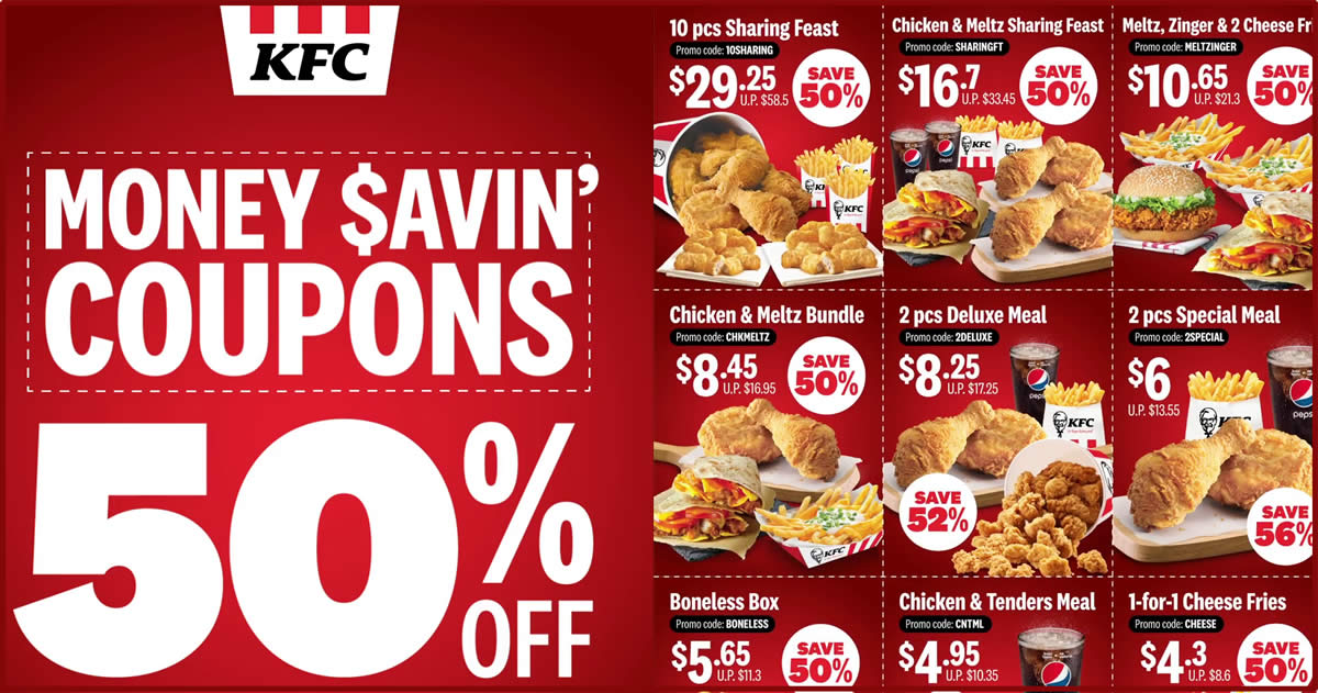 Kfc Releases New And Refreshed Set Of Coupons Offering 50 And More Savings Valid Till 28 April 2020