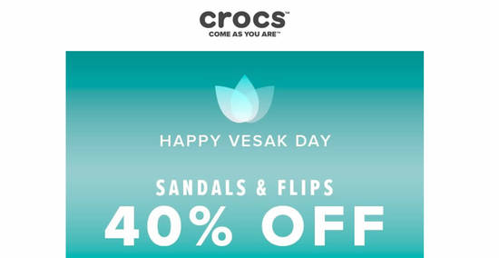 Featured image for Crocs: Extra 40% OFF for Sandals & Flips till 8 May 2020