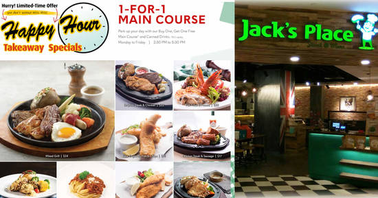 Featured image for Jack's Place is offering 1-For-1 Main Course* via takeaway orders on weekdays, 2.30pm - 5.30pm