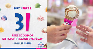 Featured image for Baskin-Robbins: Free Single Junior flavor of the day with every Single Regular scoop purchased till 30 July 2020