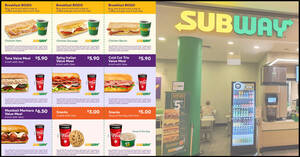 Featured image for Subway extends their takeaway coupon deals including the 1-for-1 breakfast sub offer till 30 June 2020