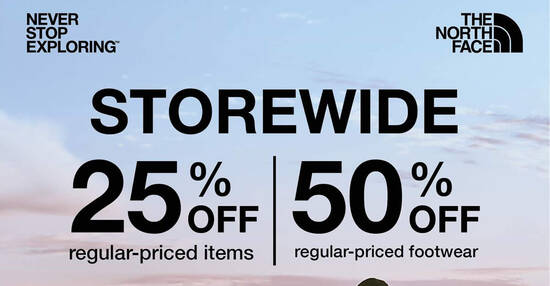 Featured image for The North Face: 50% off regular-priced footwear and 25% off regular-priced items till 30 June 2020