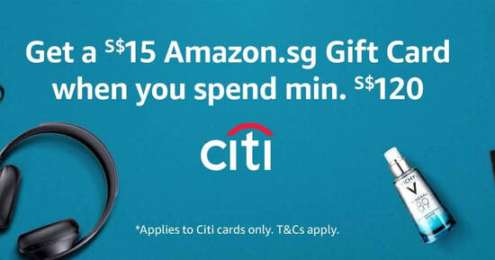 Featured image for Amazon.sg: Get a S$15 Amazon.sg Gift Card when you spend S$120 or more using your Citibank card till 31 July 2020