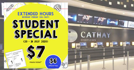 Featured image for Cathay Cineplexes School Holidays Special: Enjoy Student Priced Tickets at $7 ($6 on Tuesday) all-day from 20 - 24 July 2020