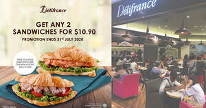 Delifrance: Pick any two sandwiches for just $10.90 for takeaway and dine-in till 31 July 2020