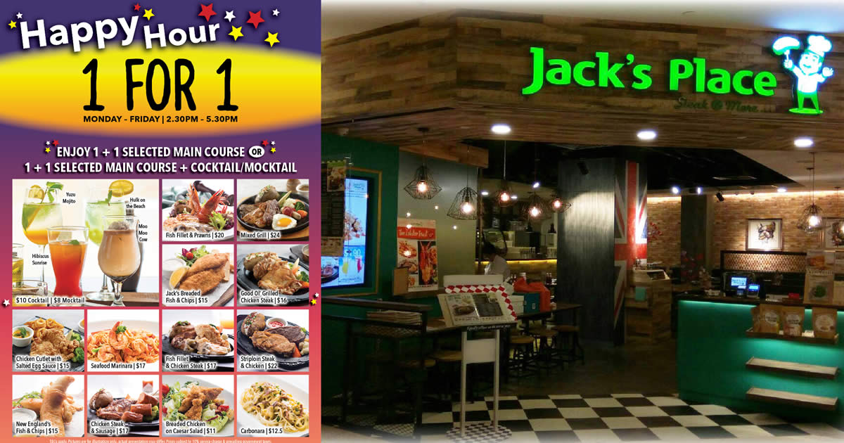 Featured image for Jack's Place is offering 1-For-1 Main Course on weekdays, 2.30pm - 5.30pm (From 1 July 2020)