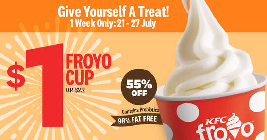 Featured image for KFC: $1 Froyo Cup deal (usual $2.20) for a limited time from 21 - 27 July 2020
