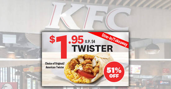 Featured image for KFC: $1.95 Twister / $1.95 Famous Potato Bowl deal for dine-in and takeaway orders till 30 Nov 2020