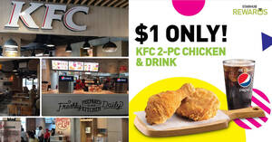 KFC 2-pc chicken & drink at just $1 for StarHub customers on Saturday, 18 July 2020