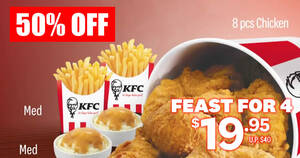 KFC S'pore is offering a special 8pc chicken meal deal at 50% off for a limited time (From 7 July 2020)
