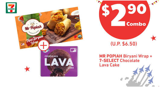 Featured image for 7-Eleven: 55% off Mr Popiah Biryani Wrap + 7-Select Choco Lava Cake combo from 14 - 17 August 2020
