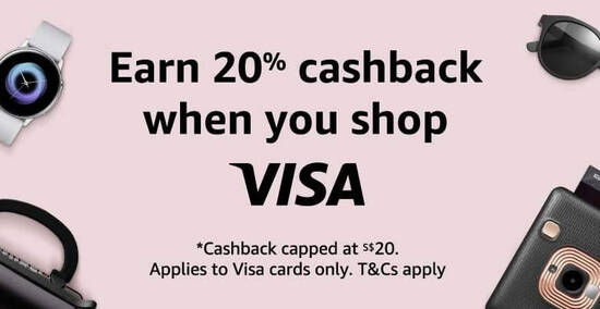 Featured image for Amazon.sg: Earn 20% cashback (up to a maximum cashback value of S$20) with Visa cards till 31 August 2020