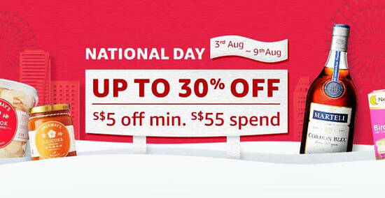 Featured image for Amazon.sg: National Day - Up to 30% off with additional S$5 off min. S$55 spend till 9 August 2020