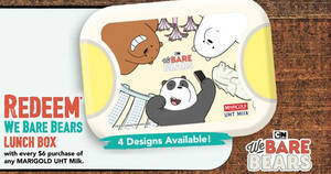 Fairprice: Redeem We Bare Bears Lunch Box with every $6 purchase of any MARIGOLD UHT Milk till 31 August 2020