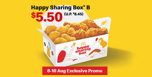 McDelivery's Happy Sharing Box® B is going at $5.50 with this promo code valid till 10 August 2020