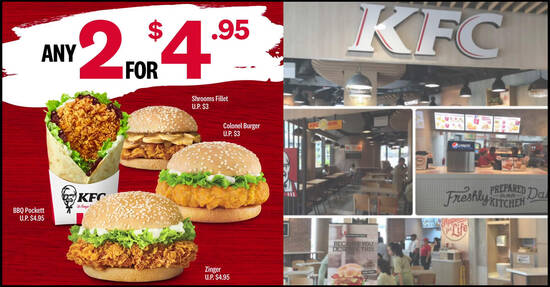 Featured image for KFC: Pick any two of your favourite burgers and wraps for just under $5. From 17 August 2020