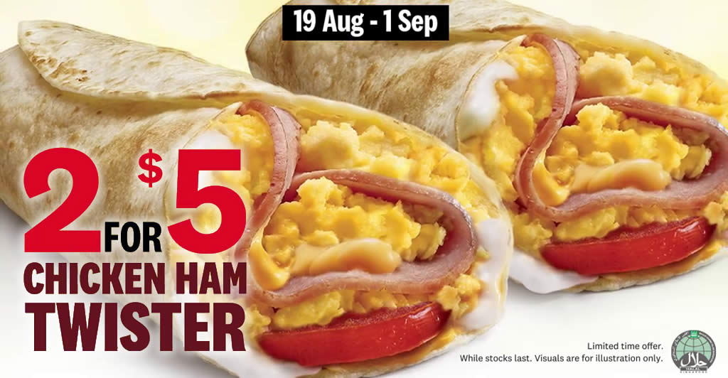 Featured image for KFC: Enjoy two Chicken Ham Twisters for only $5 (U.P. $8) till 1 September 2020