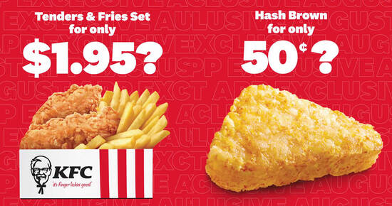 Featured image for KFC: 50 cents Hash Brown and $1.95 Tenders and Fries App deals till 31 Aug 2020