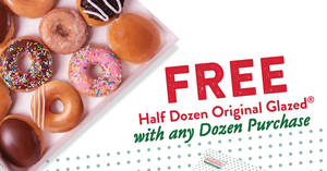 Krispy Kreme: Free Half Dozen Original Glazed with any purchase of a Dozen doughnuts from 14 Aug 2020