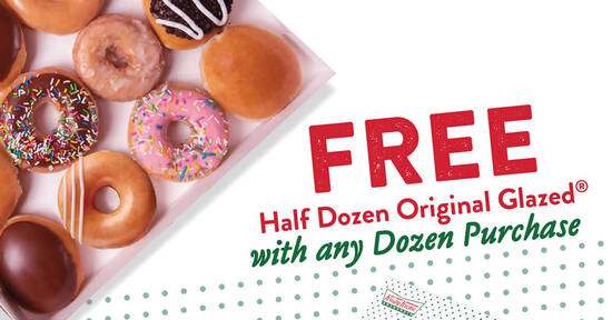 Featured image for Krispy Kreme: Free Half Dozen Original Glazed with any purchase of a Dozen doughnuts from 14 Aug 2020