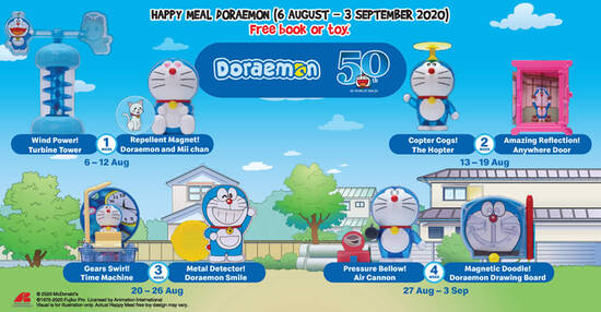 Featured image for McDonald's latest Happy Meal toys features Doraemon! From 6 August - 3 September 2020
