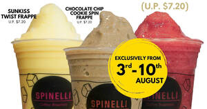 Spinelli Coffee: $5.50 nett on all Large (16oz) Frappes (U.P. $7.20) at six outlets till Monday, 10 August 2020