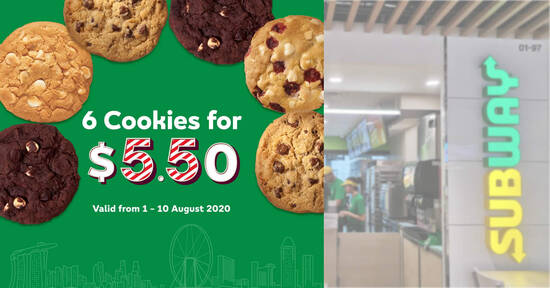 Featured image for Subway's cookies are going at 6-for-$5.50 till 10 August 2020