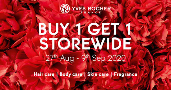 Featured image for Yves Rocher: Buy-1-Get-1-Free storewide at 5 outlets from 27 August - 9 September 2020
