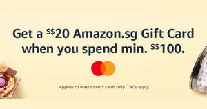 Amazon.sg: Get a S$20 Amazon.sg Gift Card when you spend S$100 or more using Mastercard till 27 Sep 2020