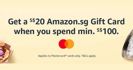 Featured image for Amazon.sg: Get a S$20 Amazon.sg Gift Card when you spend S$100 or more using Mastercard till 27 Sep 2020