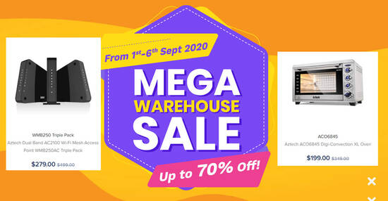 Featured image for Aztech's Mega Warehouse Sale is happening online from 1st - 6th Sept 2020