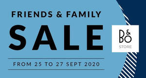 Bang & Olufsen: Up to 58% off Friends & Family Sale till 27 September 2020