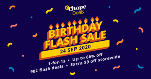 ChopeDeals One-Day Mega Sale: Over 250 Exclusive Deals, 1-for-1s and $0.90 Flash Deals on 24 Sep 2020