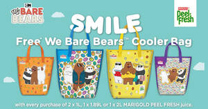Free We Bare Bears cooler bag when you purchase Marigold Peel Fresh till 5 October 2020