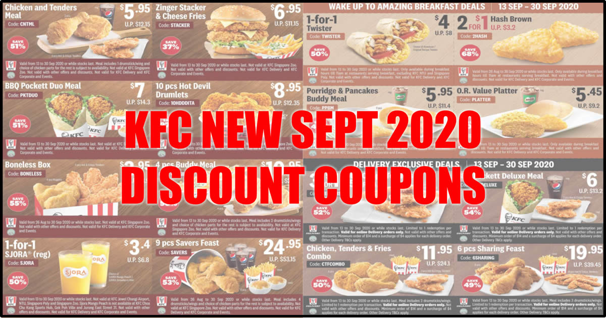 Kfc Releases New Sept 2020 Dine In Takeaway And Delivery Coupons That Lets You Save Up To 68 Till 30 September 2020