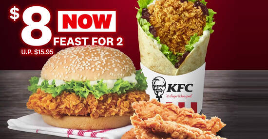 Featured image for KFC: $8 (usual $15.95) for Zinger, BBQ Pockett and 4 pieces of Hot & Crispy Tenders deal from 1 Oct 2020
