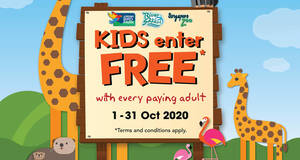 Kids enter free to Singapore Zoo, River Safari and Jurong Bird Park with every paying adult from 1 – 31 Oct 2020