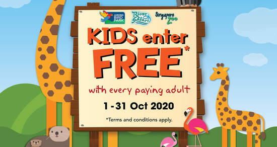 Featured image for Kids enter free to Singapore Zoo, River Safari and Jurong Bird Park with every paying adult from 1 - 31 Oct 2020
