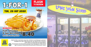 Long John Silver's 1-for-1 Fish, Chicken & 3pc Shrimps meal promotion to return on Tuesday, 29 September 2020