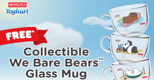 Featured image for Marigold: Redeem a free collectible We Bare Bears Glass Mug when you purchase selected Yoghurt products till 30 September