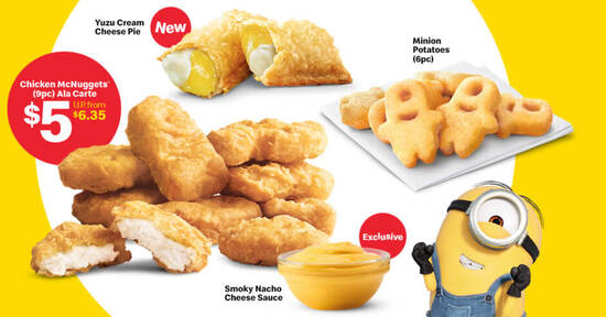 Featured image for McDonald's is offering 9pcs Chicken McNuggets at $5 (U.P. $6.35) along with new Minion menu items from 3 Sep 2020