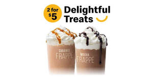 McDonald's S'pore: Enjoy two Frappe (Mocha or Caramel) for $5 with any purchase till 16 May 2021