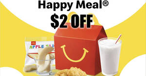 McDonald's: $2 off Happy Meal with minimum $5 purchase from 21 – 23 September 2020