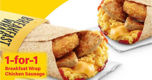 McDonald's will be offering 1-for-1 Breakfast Wrap Chicken Sausage from 14 – 15 Jan 2021