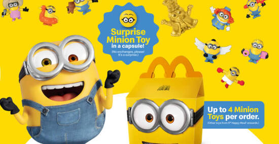 Featured image for McDonald's: Free Surprise Minion Toy in a capsule with every Happy Meal till 7 October 2020